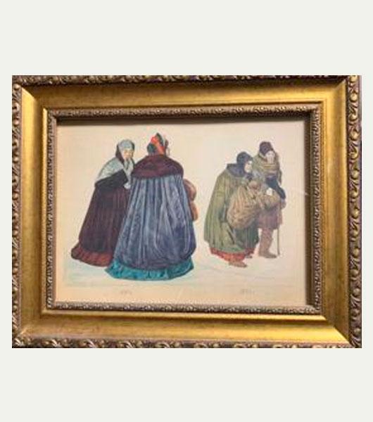 Картина картон акварель 19 век